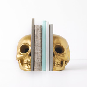 Metallic Skull Bookends