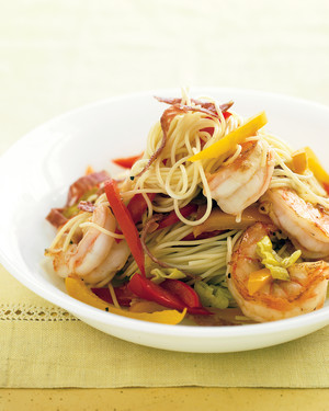 Capellini with Shrimp, Peppers, and Salami