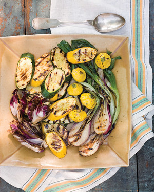 Grilled Radicchio, Summer Squashes, and Scallions