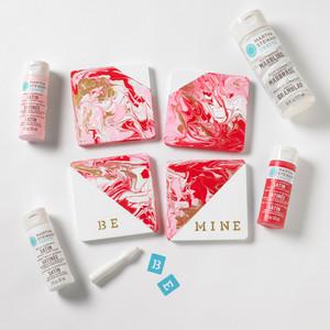 Martha Stewart DIY Marbled Heart Coasters