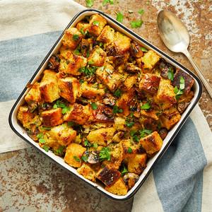 vegan stuffing in casserole dish