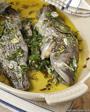 Whole Roasted Sea Bass Recipe Amp Video Martha Stewart