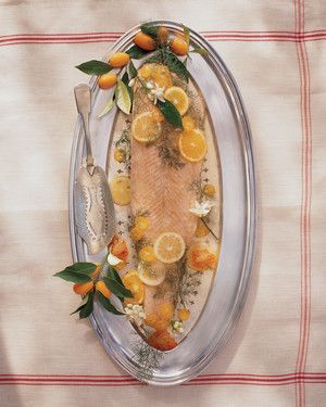 Whole Poached Salmon in Aspic with Citrus and Wild Fennel image