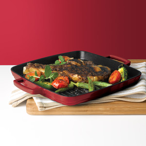 Martha Stewart Collection Enameled Cast-Iron Grill Pan