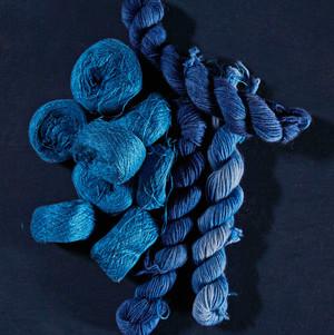 Skeins of blue silk yarn from late New Jersey fiber artist Carol Westfall.