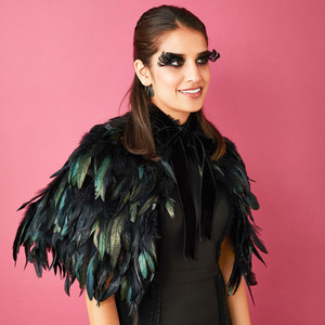 black bird feather cape