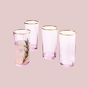 Martha Stewart Collection Royal Blush High Ball Glasses