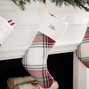Pottery Barn Personalized Plaid Stocking