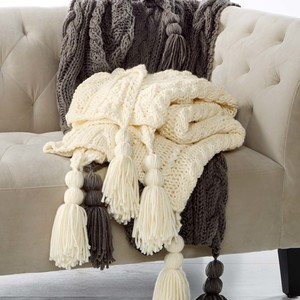 Martha Stewart Collection Luxury Handknit Tassel Throw