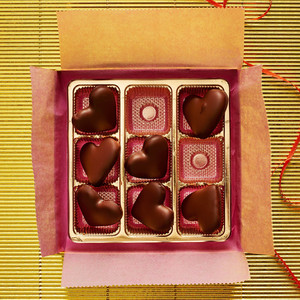 chocolates wrapping box hearts