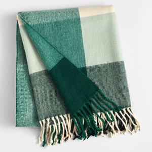 Cost Plus World Market Green and Ivory Plaid Throw