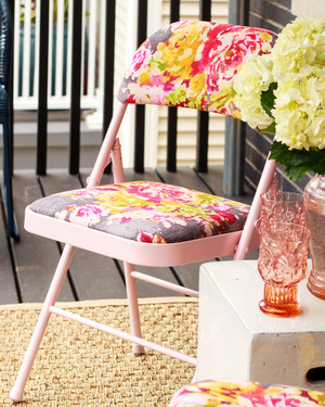 How to Paint and Reupholster an Upcycled Folding Chair