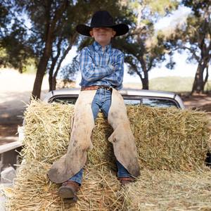 son hay bale chaps cowboy hat ranch life