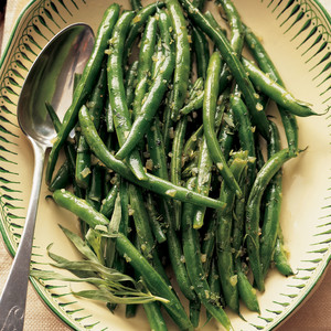 dish of fresh green beans cooked