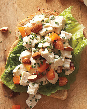 Chicken Salad with Apricots and Almonds Sandwich