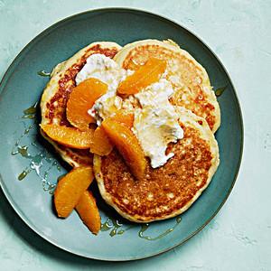 ricotta-cornmeal pancakes with oranges