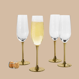 Martha Stewart Collection Gold Stem Champagne Glasses
