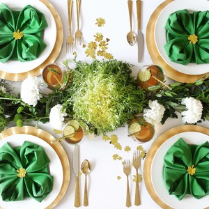 st. patricks day healthy green lunch table setting