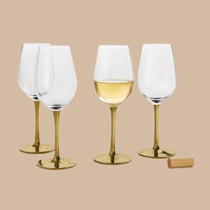 Martha Stewart Collection Gold Stem White Wine Glasses