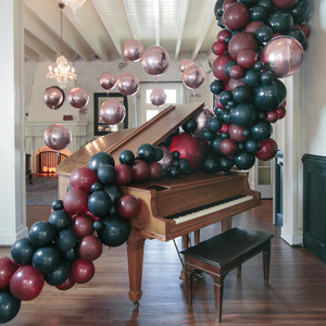halloween rose gold dinner party balloon decorations piano