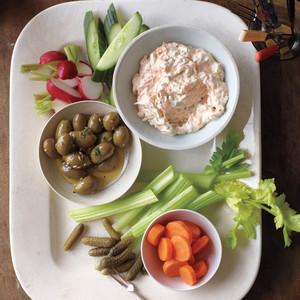 Herb-Marinated Olives and Garden Veggie Dip