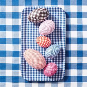 gingham decoupaged easter eggs
