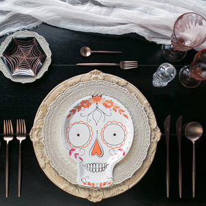 halloween rose gold dinner table setting