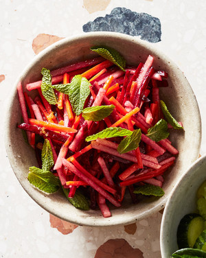 beet-and-carrot juice salad topped with mint