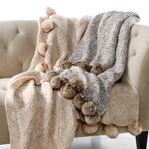 Martha Stewart Collection Basketweave Faux-Fur Throw