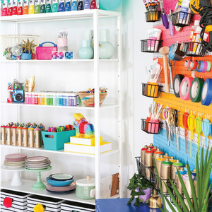 colorful organized craft supplies