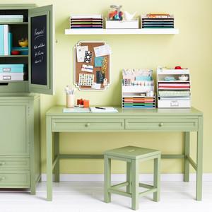 staples green desk craft room organization