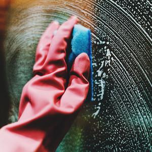 cleaning pink gloves sponge