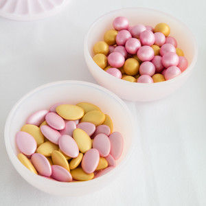 pink and gold candy close up