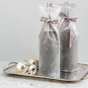 Winter Frost Metallic Wine Bags