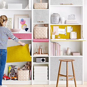 bookshelf with modular storage