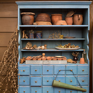 seed room blue cabinet