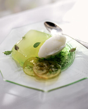 lemon terrine with lemon confit and mint syrup
