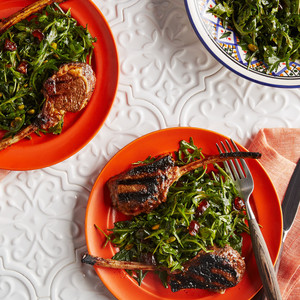 lamb kebabs with greens