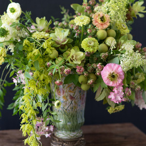kiana underwood summer green floral arrangement close up