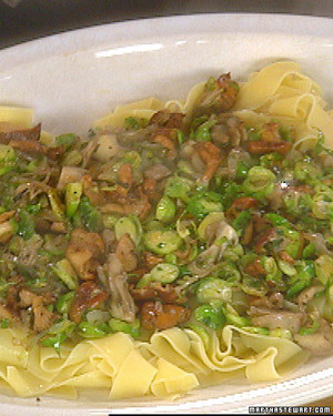 Pappardelle Pasta with Mushrooms and Brussels Sprouts