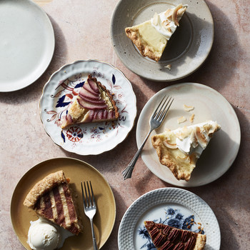 pies on plates