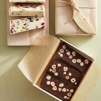 chocolate-hazelnut fudge in poplar box