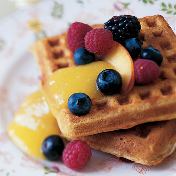 Oat and Whole-Wheat Waffles with Mango Sauce