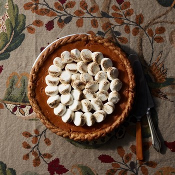 sweet-potato custard pie topped with marshmallows
