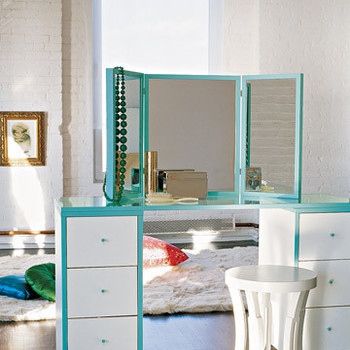 Roomy Vanity and Triptych Mirror