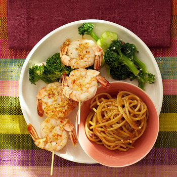 Garlic-Chili Shrimp Skewers with Peanut Noodles and Broccoli