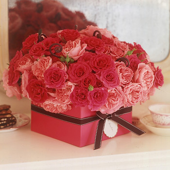 Roses in Ribbon Box