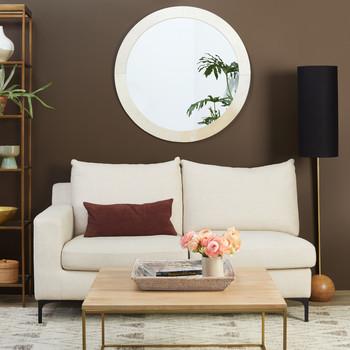 brown living room white loveseat