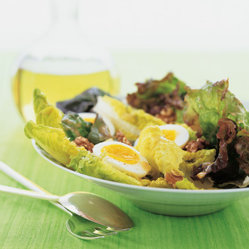 Red Romaine Salad with Walnuts and Eggs