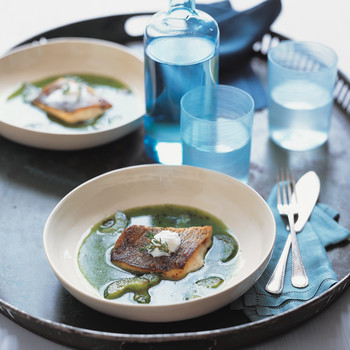 Striped Bass with Cucumber Broth